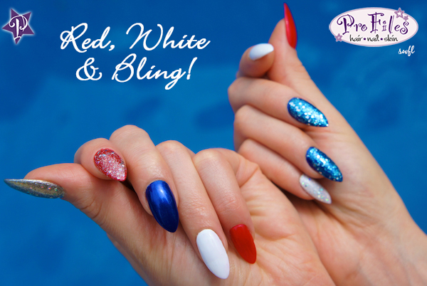 4th of July Bling Nails